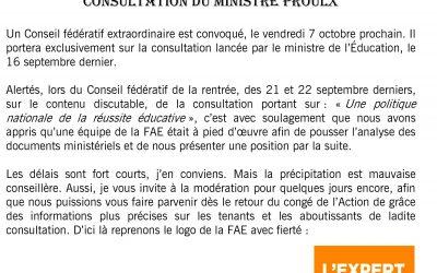 La Consultation du ministre Proulx